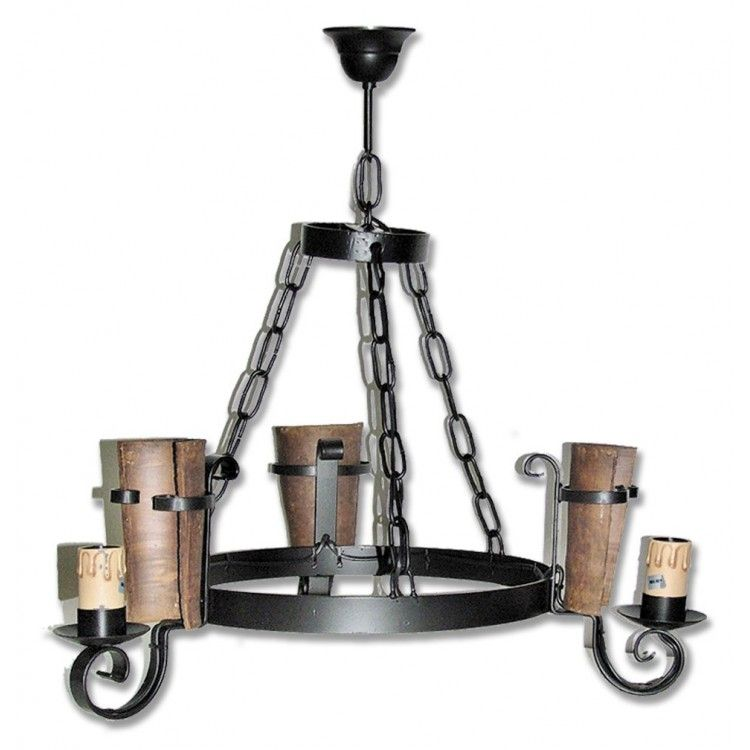 Lámpara de Forja 3 Luces Tejas 0555